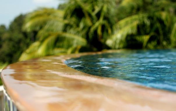 Фото обои вода, пальмы, фонтан