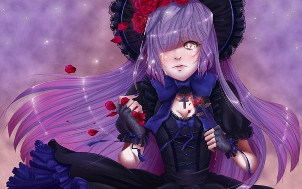 Фото обои розы, Девушка, крест, шляпа, лепестки, бант