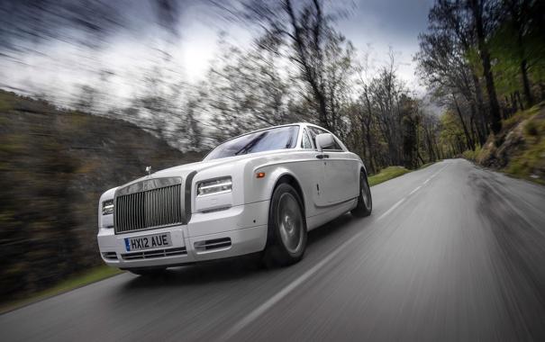 Фото обои Дорога, Белый, Phantom, Решетка, Фары, Rolls Royce, Купэ
