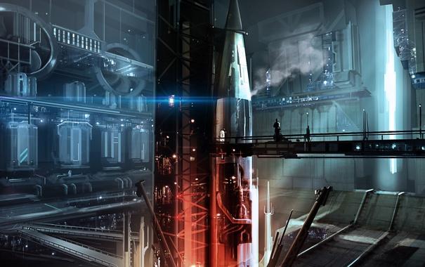 Фото обои мост, люди, ракета, арт, установка, сооружиение, бункер