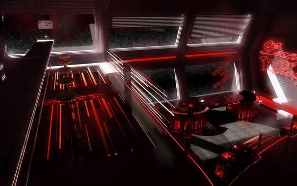 Фото обои корабль, бар, напитки, космический, столики, Space disco bar