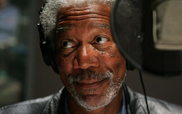 Фото обои улыбка, микрофон, Morgan Freeman