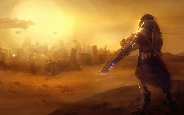 Фото обои песок, солнце, город, оружие, транспорт, пустыня, человек