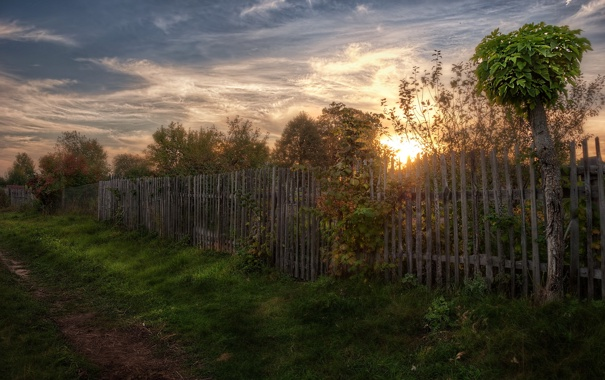 Фото обои закат, пейзаж, забор, дорога