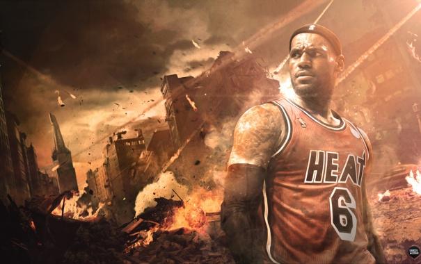 Фото обои Майами, Спорт, Лицо, Баскетбол, Miami, NBA, LeBron James