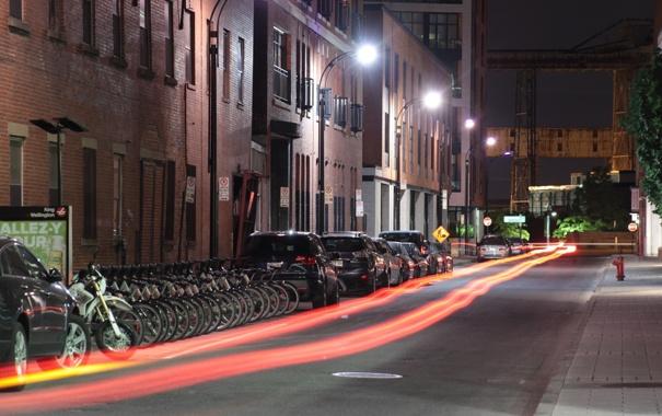 Фото обои дорога, свет, линии, машины, ночь, город, огни