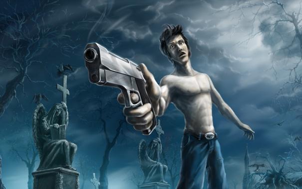 Фото обои оружие, фантастика, кресты, могилы, человек, кладбище
