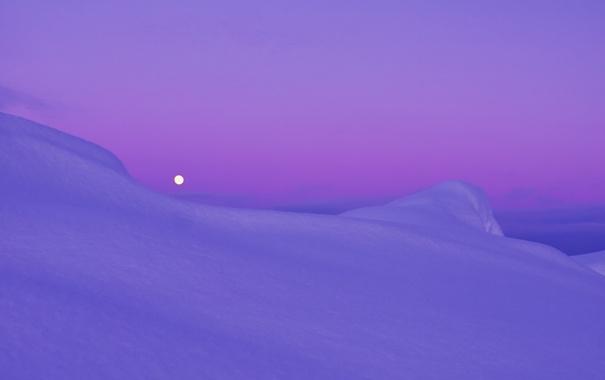 Фото обои снег, луна, вечер, Сиреневый, сумерки, арктика