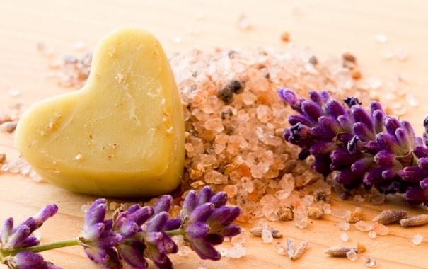 Фото обои сердце, мыло, heart, soap, спа, lavender, соль