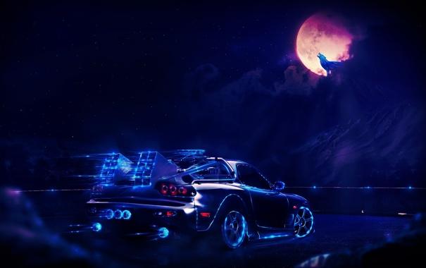 Фото обои дорога, машина, небо, свет, фантастика, луна, волк
