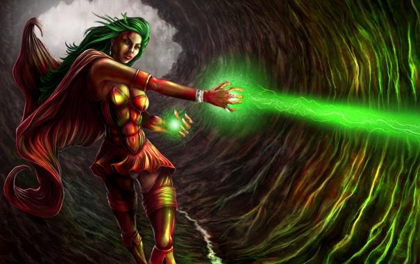 Фото обои магия, Девушка, костюм, пещера, плащ, зеленый луч смерти