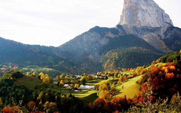Фото обои зелень, лес, трава, деревья, пейзаж, горы, природа