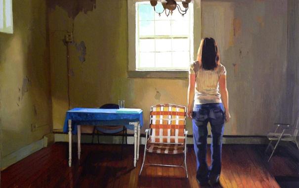 Фото обои девушка, комната, мебель, картина, ожидание
