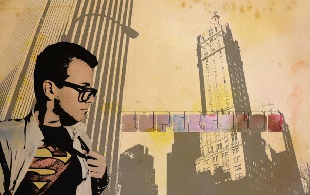 Фото обои надпись, логотип, обои, супергерой, парень, фон, креатив