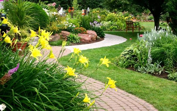 Фото обои цветы, дизайн, сад, дорожка, flowers, клумбы, статуэтки