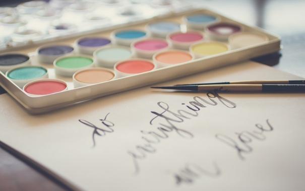 Фото обои цвета, текст, надпись, краски, кисти, кисточки