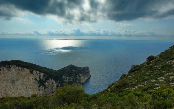 Фото обои море, пейзаж, горы, природа, утесы