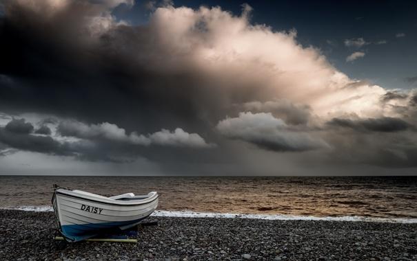 Фото обои море, небо, берег, лодка