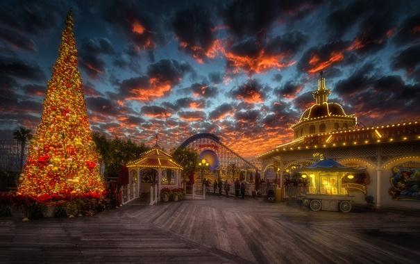 Фото обои небо, облака, закат, природа, новый год, рождество