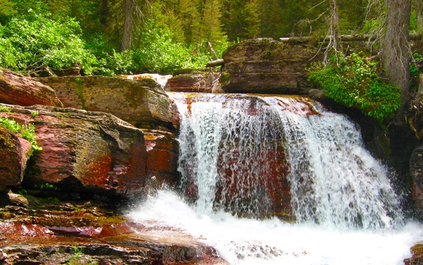 Фото обои лес, скалы, водопад