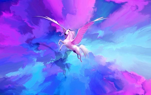 Фото обои полет, животное, краски, крылья, арт, ярко, пегас