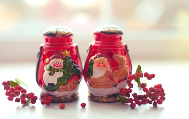 Фото обои зима, ягоды, Рождество, красные, Новый год, Christmas, New Year