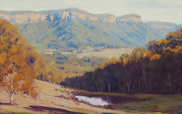 Фото обои осень, вода, деревья, природа, пруд, холмы, лужа