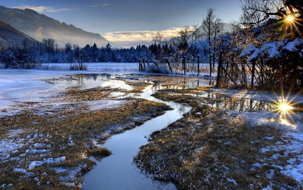 Фото обои поле, пейзаж, горы, природа, забор