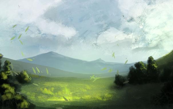 Фото обои небо, листья, облака, деревья, горы, рисунок, арт