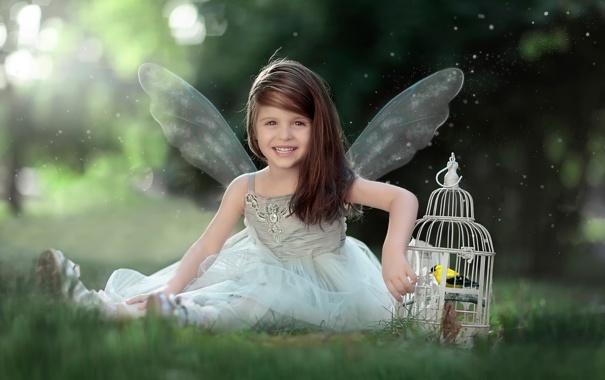 Фото обои улыбка, ангел, клетка, девочка, птичка, Lets fly together