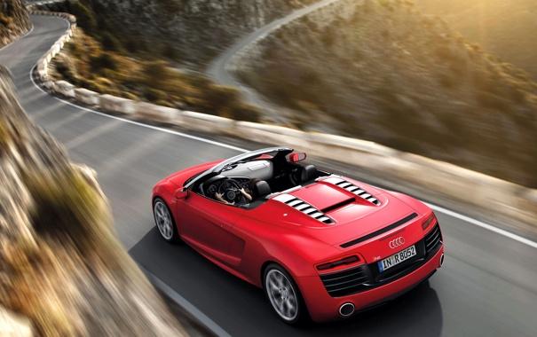 Фото обои Red, Audi R8, Mountain, Road, Cabrio, Motion