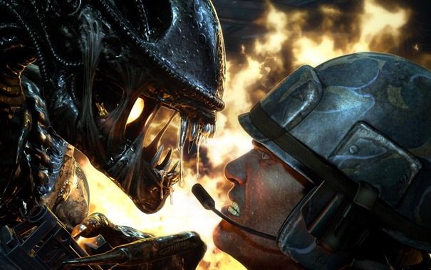 Фото обои смерть, огонь, монстр, зубы, Чужой, солдат, винтовка