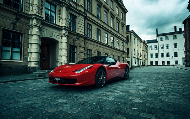 Фото обои City, Ferrari, Red, 458, Street, Italia, Performance