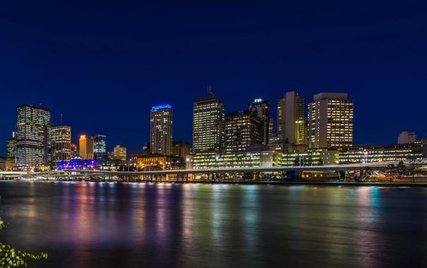 Фото обои ночь, огни, река, дома, Австралия, набережная, Brisbane