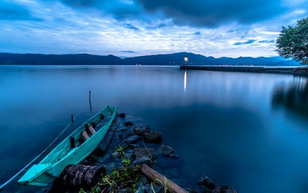 Фото обои вода, природа, озеро, рассвет, сумерки, Lake Toba