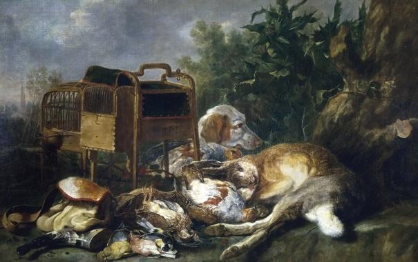 Фото обои картина, Собака, жанровая, Ян Фейт, Сторожащая Охотничьи Трофеи