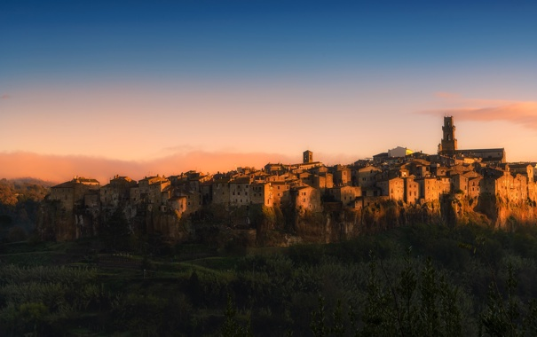Фото обои city, dawn, italy, pitigliano