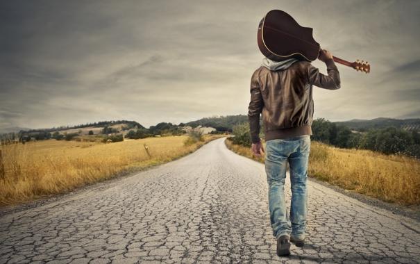 Фото обои дорога, небо, облака, деревья, природа, гитара, guitar