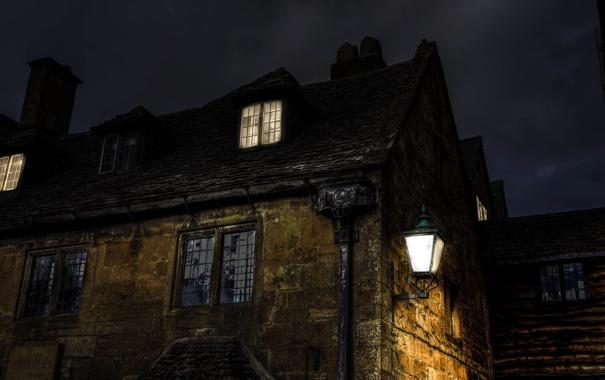 Фото обои свет, ночь, дом, мрак, здание, окна, фонари