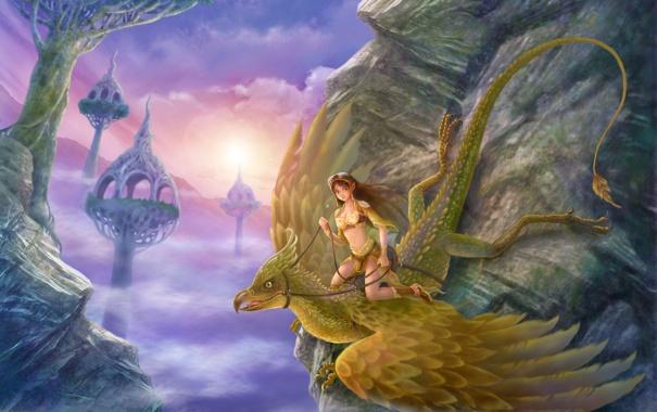 Фото обои девушка, облака, горы, скалы, высота, крылья, всадница