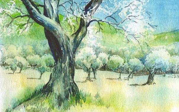 Фото обои пейзаж, дерево, картина