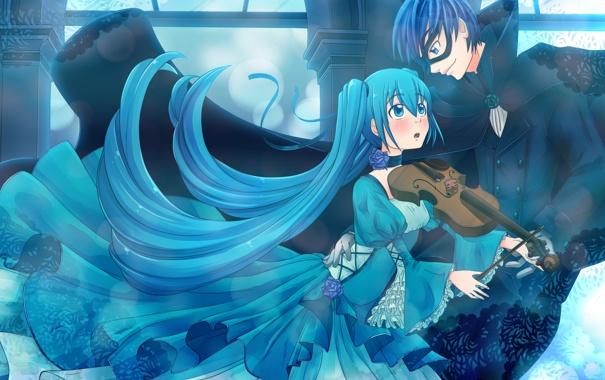 Фото обои улыбка, музыка, настроение, скрипка, Девушка, танец, парень