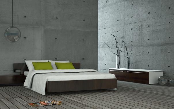 Фото обои вазы, кровать, журналы, комната