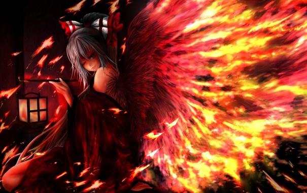 Фото обои девушка, огонь, крылья, трубка, арт, бант, touhou