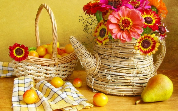 Фото обои цветы, ваза, груша, натюрморт, корзинка, герберы, сливы