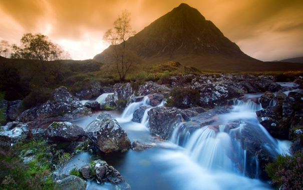 Фото обои пейзаж, природа, река, гора