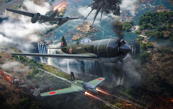 Фото обои самолет, огонь, дым, выстрел, plane, aviation, авиа