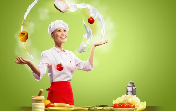 Фото обои девушка, улыбка, кухня, повар, азиатка, овощи, помидоры