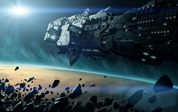 Фото обои космос, корабль, планета, метеориты, космический, starship