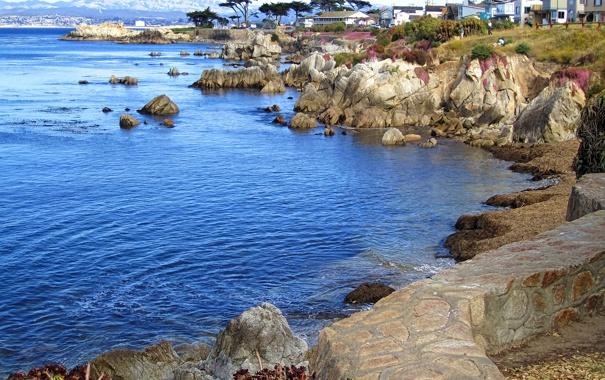 Фото обои море, небо, горы, рендеринг, скалы, дома
